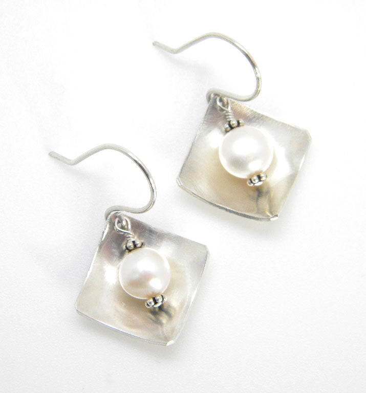 Pearls Collection - Large Bias Square Earrings in Recycled Sterling Silver - MARTINIJewels