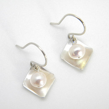 Pearls Collection - Small Bias Square Dangle Earrings with Potato Pearls