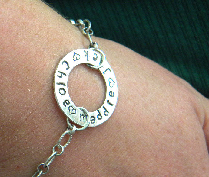 Family Bracelet - Hand Stamped Custom in Recycled Sterling Silver