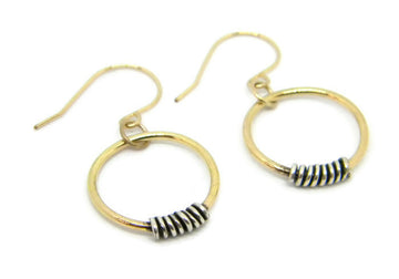 Coils Collection - Gold Hoop Earrings with Oxidized Silver Coils - MARTINIJewels