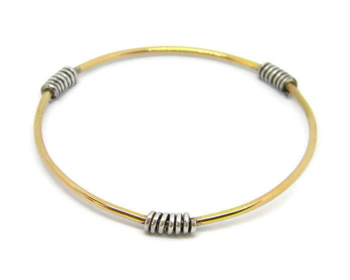 Coils Collection - Gold Bangle with Oxidized Silver Coils