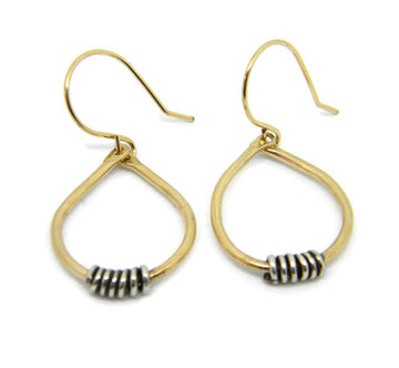 Coils Collection - Gold Teardrop Hoop Earrings with Oxidized Silver Coils