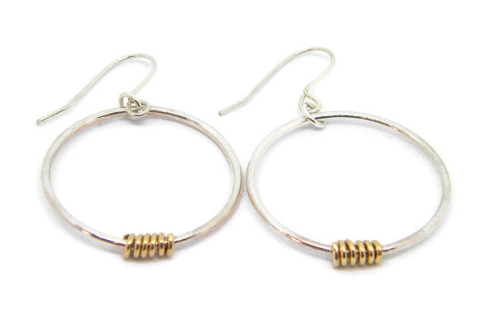 Coils Collection - Recycled Sterling Silver Hoop Earrings with Gold Coils
