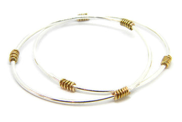 Coils Collection - Recycled Sterling Silver Bangle with Gold Coils - MARTINIJewels