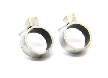Minimalism Collection - Cube Cylinder Post Earrings in Recycled Sterling Silver