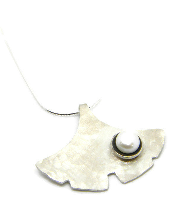 Botanicals Series - Ginkgo Necklace in Recycled Sterling Silver with Nested Pearl - MARTINIJewels
