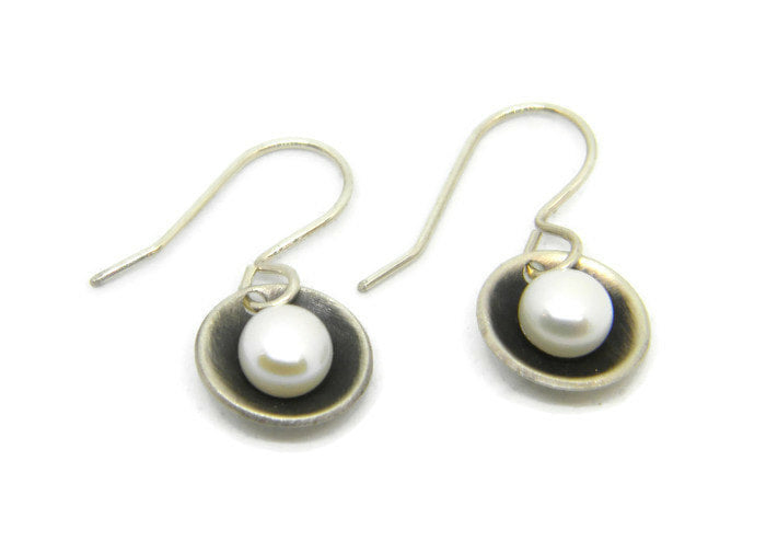 Botanical Series - Nested Pearl Earrings in Recycled Sterling Silver - MARTINIJewels