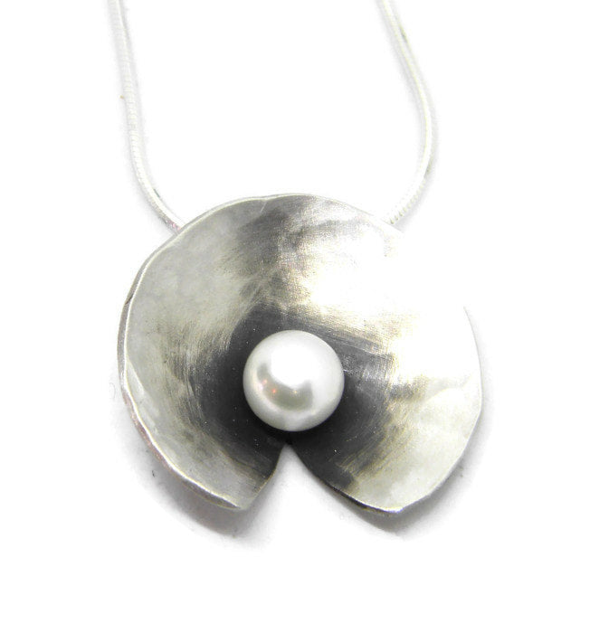Botanicals Collection - Large Pearl Pendant - in Recycled Sterling Silver - MARTINIJewels