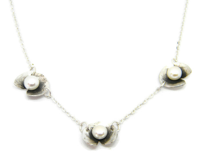 Botanical Series - 3 Lily Pads with Pearls Necklace in Recycled Sterling Silver - MARTINIJewels