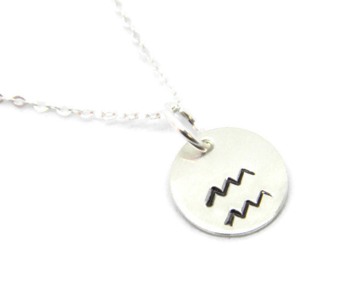 Zodiac Collection - Aquarius - Hand Stamped Charm Necklace