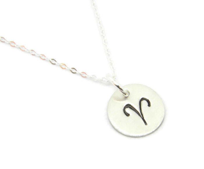 Zodiac Collection - Aries - Hand Stamped Charm Necklace - MARTINIJewels