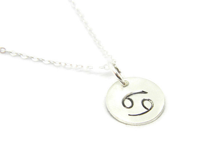 Zodiac Collection - Cancer - Hand Stamped Charm Necklace - MARTINIJewels