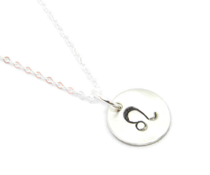 Zodiac Collection - Leo - Hand Stamped Charm Necklace - MARTINIJewels