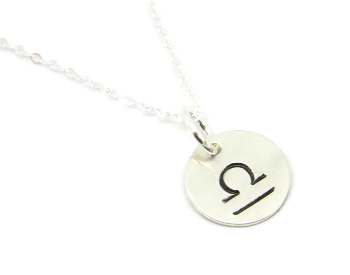 Zodiac Collection - Libra - Hand Stamped Charm Necklace