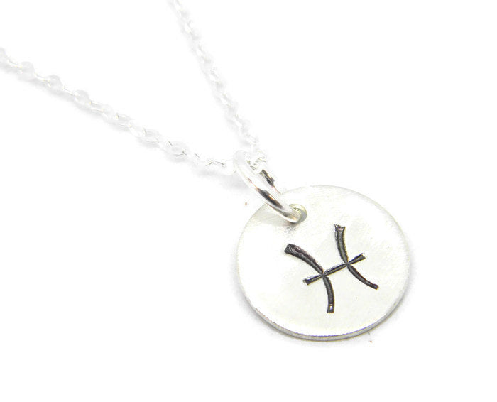 Zodiac Collection - Pisces - Hand Stamped Charm Necklace