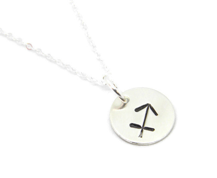 Zodiac Collection - Sagittarius - Hand Stamped Charm Necklace - MARTINIJewels