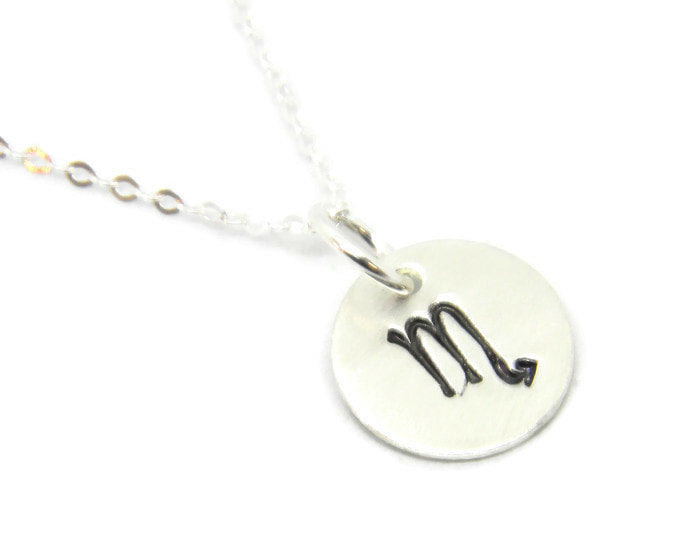 Zodiac Collection - Scorpio - Hand Stamped Charm Necklace - MARTINIJewels