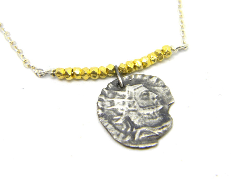 Roman Coins Collection - Silver Coin with Gold Nugget Necklace for History Lovers