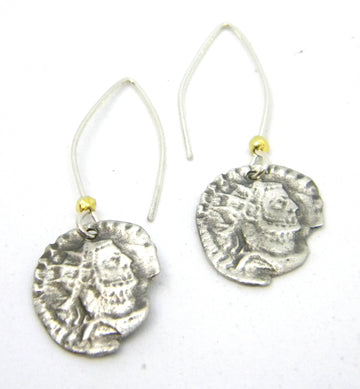 Roman Coins Collection - Sterling Coin Earrings with Contemporary Ear Wires for History Lovers