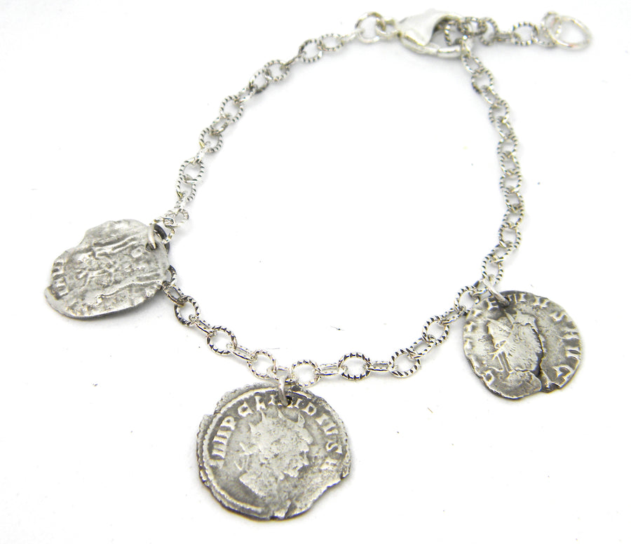 Roman Coins Collection - Silver Coin Charm Bracelet for History Lovers