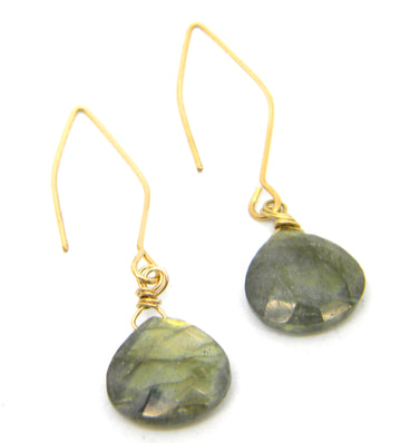 Labradorite Earrings with Traditional or Contemporary Gold Ear Wires