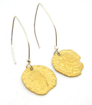 Roman Coins Collection - Gold Earrings with Contemporary Wires for History Lovers