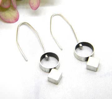 Minimalism Collection - Cylinder and Bias Square Earrings
