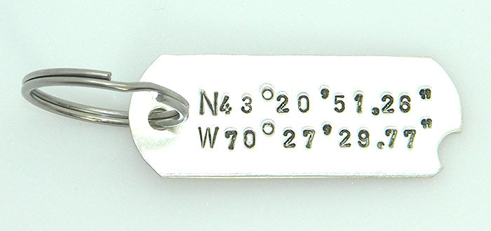 Sterling Silver Longitude and Latitude Dogtag Keyring or Necklace Hand stamped in Recycled Sterling Silver - MARTINIJewels