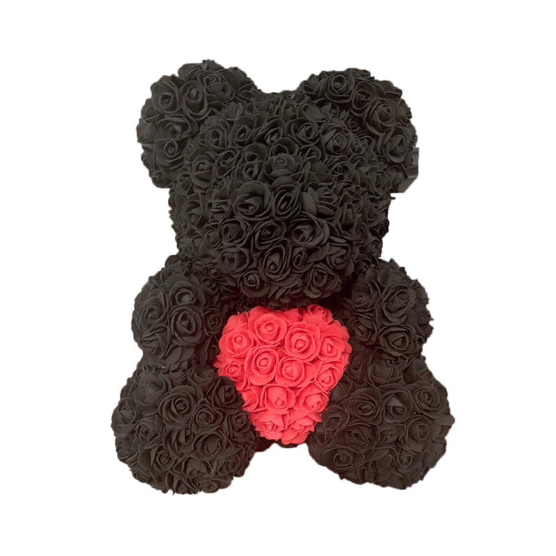 Rose Bear - Love Two-Tone Heart Medium - Black & Red