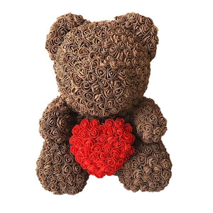 Rose Bear - Love Two-Tone Heart Medium - Café & Red
