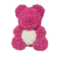 Load image into Gallery viewer, Rose Bear - Love Two-Tone Heart Medium - Rose Red & White