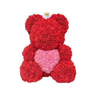 Rose Bear - Love Two-Tone Heart Medium - Red Crown & White