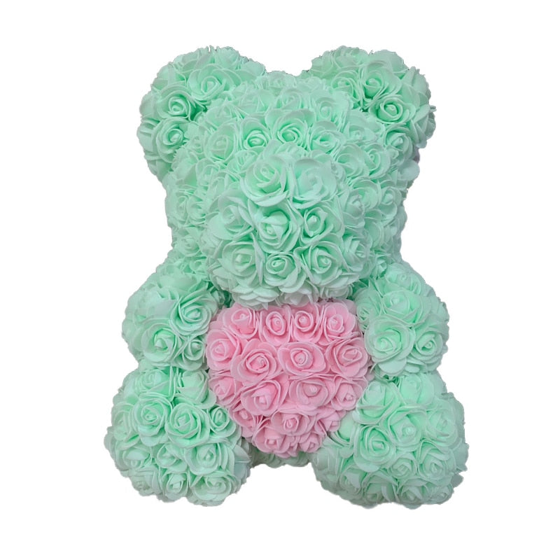 Rose Bear - Love Two-Tone Heart Medium - Mint & Pink