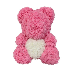 Rose Bear - Love Two-Tone Heart Medium - Tiffany & White