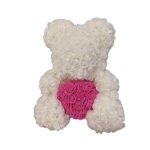Rose Bear - Love Two-Tone Heart Medium - White & Pink