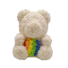 Load image into Gallery viewer, Rose Bear - Love Two-Tone Heart Medium - White & Rainbow