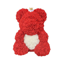 Load image into Gallery viewer, Rose Bear - Love Two-Tone Heart Medium - Red Crown & White