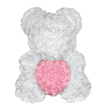 Load image into Gallery viewer, Rose Bear - Love Two-Tone Heart Medium - White & Light Pink