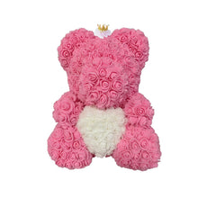 Load image into Gallery viewer, Rose Bear - Love Two-Tone Heart Medium - Pink Crown & White