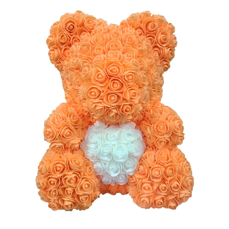 Rose Bear - Love Two-Tone Heart Medium - Orange & White