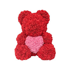 Load image into Gallery viewer, Rose Bear - Love Two-Tone Heart Medium - Red & Pink