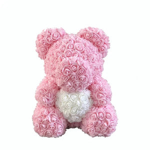 Rose Bear - Love Two-Tone Heart Medium - Light Pink & White