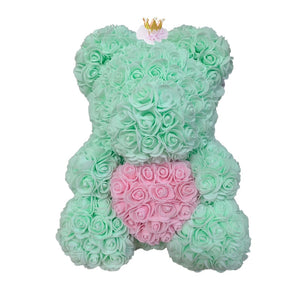 Rose Bear - Love Two-Tone Heart Medium - Mint Crown & Pink