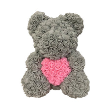 Load image into Gallery viewer, Rose Bear - Love Two-Tone Heart Medium - Grey & Pink