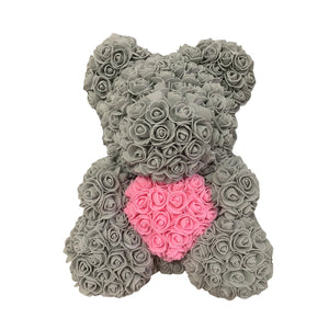 Rose Bear - Love Two-Tone Heart Medium - Grey & Pink