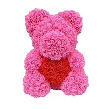 Load image into Gallery viewer, Rose Bear - Love Two-Tone Heart Medium - Bubblegum Pink & Red
