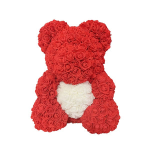 Rose Bear - Love Two-Tone Heart Medium - Red & White