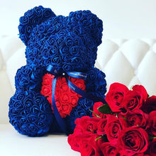 Load image into Gallery viewer, Rose Bear - Love Two-Tone Heart Medium - Navy Blue & White