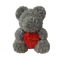 Load image into Gallery viewer, Rose Bear - Love Two-Tone Heart Medium - Grey & Red