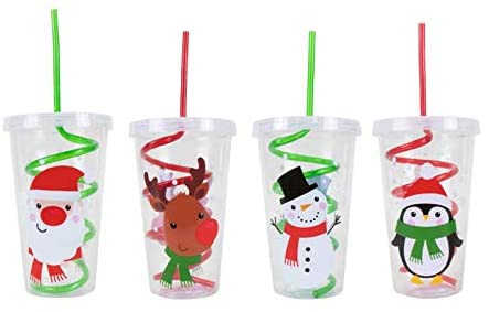 Christmas Disposable Plastic Glass with Twist Spiral Swirl Straw